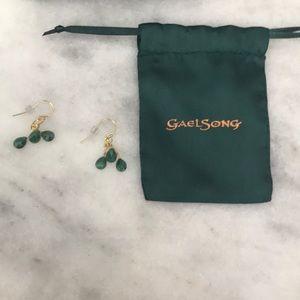 Emerald gemstone earrings handmade in the USA